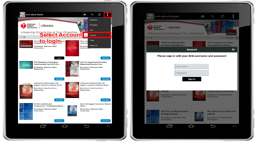 download and reading instructions for aha ebooks